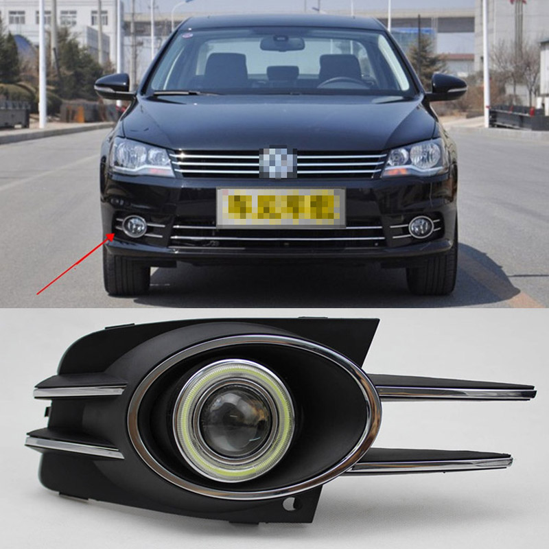 Ownsun COB Angel Eye Rings Projector Lens with 3000K Halogen Lamp Source Black Fog Lights Bumper Cover For VW Bora 2013 ownsun cob angel eye rings projector lens with 3000k halogen lamp source black fog lights bumper cover for skoda fabia 2008 2011