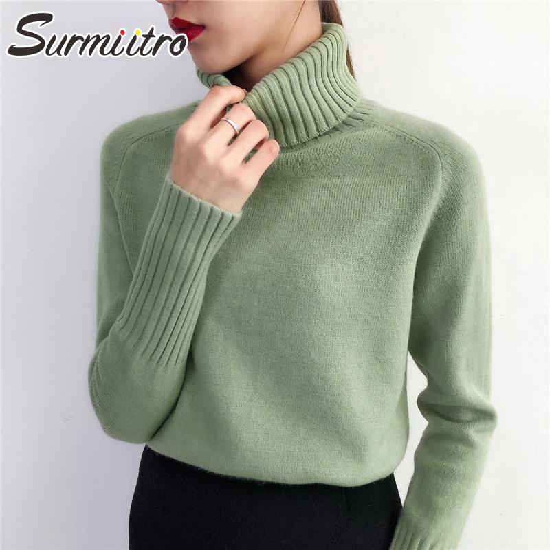 SURMIITRO Cashmere Knitted Sweater Women 2021 Autumn Winter Korean Turtleneck Long Sleeve Pullover Female Jumper Green Knitwear
