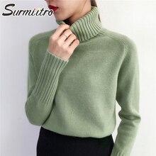 Женский теплый свитер кашемир SURMIITRO, водолазка, толстый вязаный пуловер с длинным рукавом, зеленые цвета джемпер для женщин на осень-зима