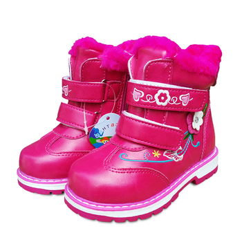 New Cute 1 Pair Flower  Plus Velvet Snow Boots Children Girl Shoes,Shoes, Thermal Sports Fashion Kid Sneakers