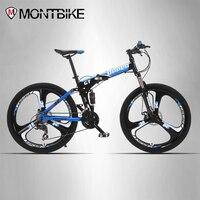 UPPER Mountain Bike Two Suspension System Steel Folding Frame 24 Speed Shimano Mechanical Brake Discs Alloy