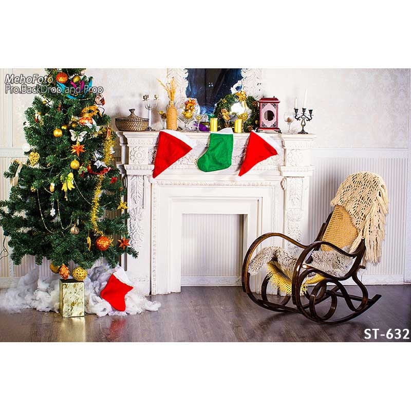 Customized vinyl print Christmas house decoration photography backdrops for family photo studio portrait background ST-632 customized chrismas house inflatable christmas decoration 3 3m