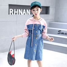 Girls Dress Baby Girl Clothes Spring autumn knit stitching denim Dresses 2019 new hooded long-sleeved kids clothes 3-12 years new 2016 spring autumn fashion girl denim strap dress child casual washing denim dresses for 2 7 years baby girls clothes