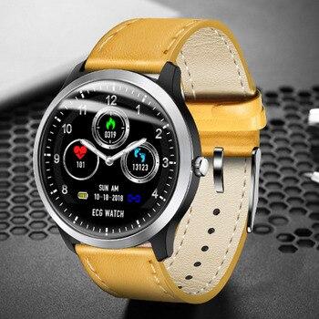 Bluetooth Waterproof Heart Rate Blood Pressure Smart Watch Fitness Round PPG+ECG Wristwatch Call Reminder
