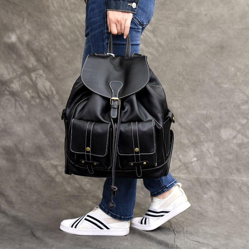 Women many pockets Leather Backpack Vintage Backpacks for Teenage Girls Fashion Large School Bags Real Leather Black Bag mochilaWomen many pockets Leather Backpack Vintage Backpacks for Teenage Girls Fashion Large School Bags Real Leather Black Bag mochila