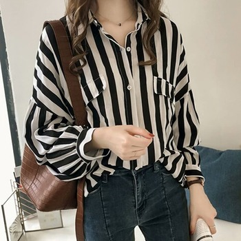 2019 New Women Striped Blouse Turn-down Collar Long Sleeve Shirts Office Ladies Spring Autumn Blouse Harajuku Plus Size nicemix 2019 jeans painting blouses female long sleeve turn down collar shirts spring autumn casual loose women blouse shirts