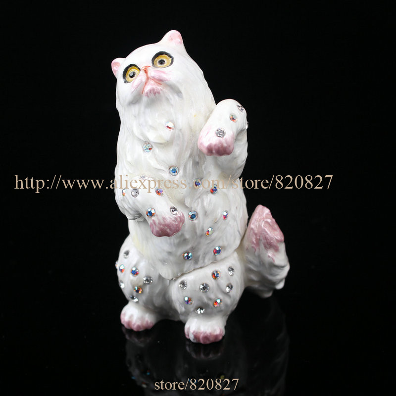Cat Figurine Keepsake Box Czech Crystals Colorpoint Hinged Cat Trinket Pill Box Small Cat Trinket Boxes red rose valentine jewelry ring earring trinket gift box case red rose large ring box single rose keepsake trinket box figurine