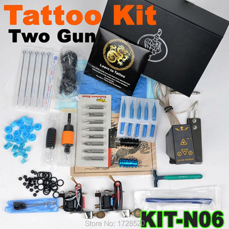 Free Shipping-New High quality 2 tattoo machine power kit complete equipment tattooing set TATTOO WHOLESALE TATTOO NEEDLES p80 panasonic super high cost complete air cutter torches torch head body straigh machine arc starting 12foot
