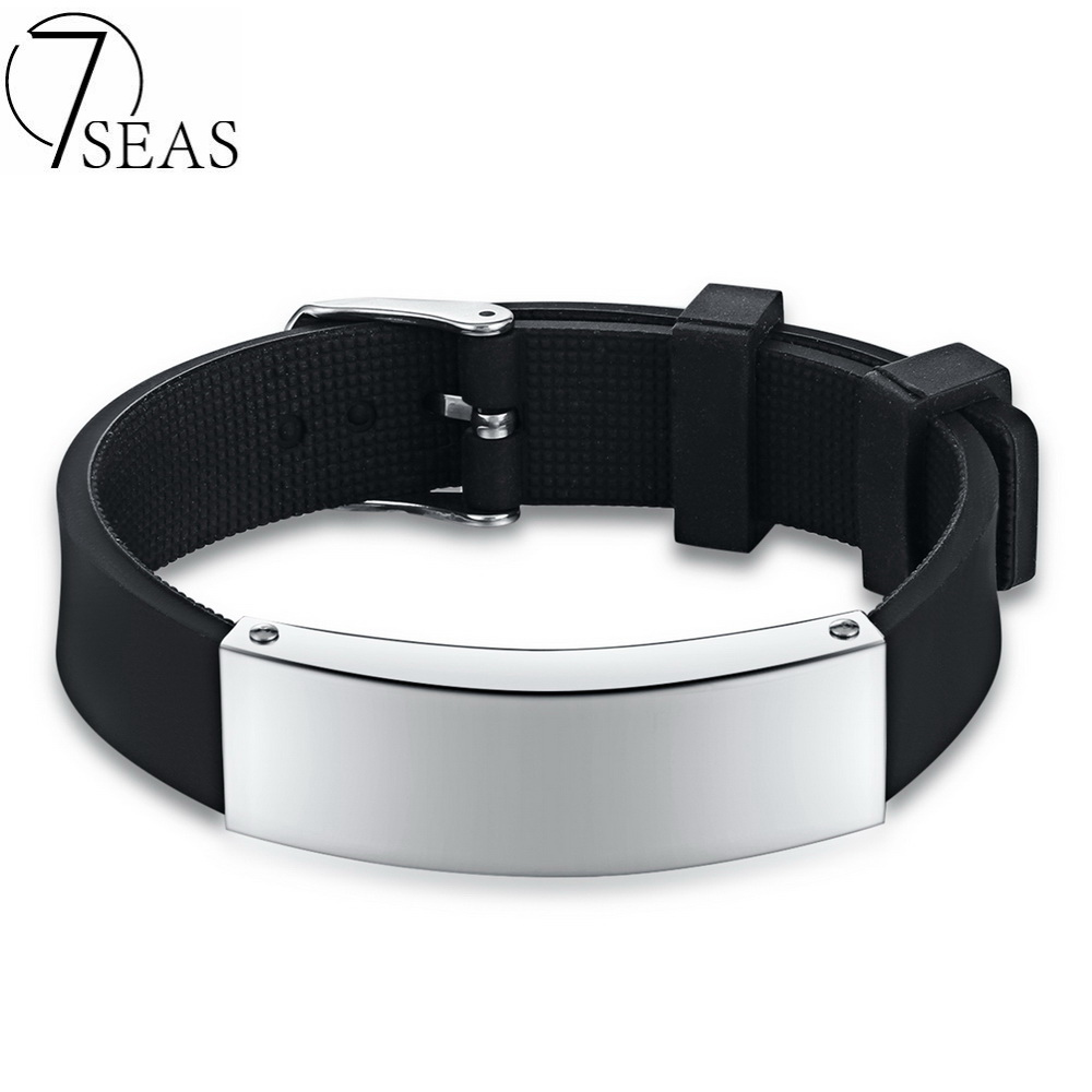 7seas 2017 Concise And Classic Silicone Bracelet Blank Polished Engraved  Bracelet Black Punk Simple For Man