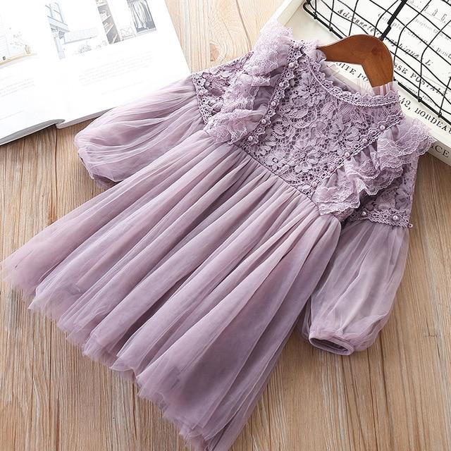 Платья для девочек с рукавами фонариками, праздвечерние чное весеннее детское кружевное платье принцессы с жемчугом, фиолетовое и белое искусственное платье