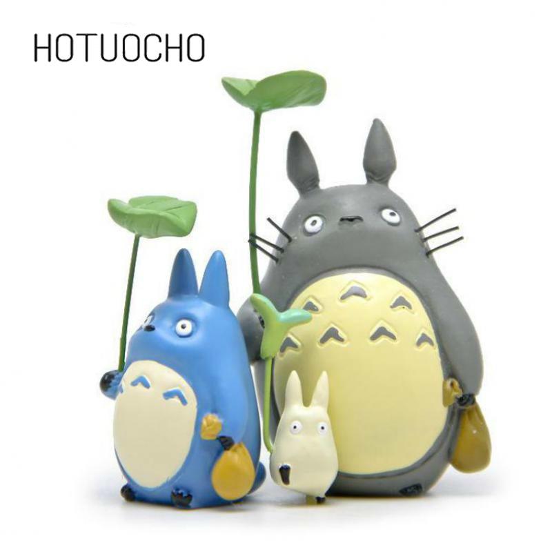 3pcs/set  Cute Diy  Resin Totoro Doll Landscape Miniature Figurines Kawaii Cartoon Animal Miniature Garden Toy Kid Gifts