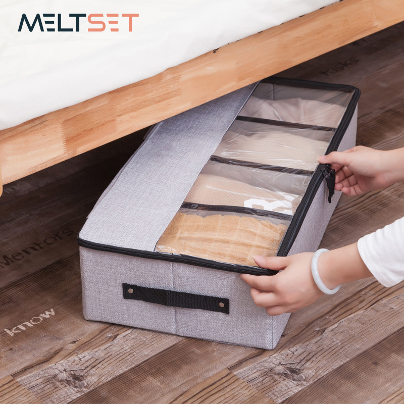 Transparent Washable Clothes Storage Box Wardrobe Closet Organizer Linen Cotton Storage Bag Shoes Cabinet Under Bed Organizador