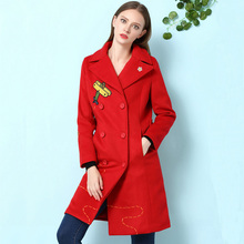 Autumn Trench Coat Plus XXL 2016 Winter Fashion Daily Women's Long Sleeve Flowers Cartoon Fly Embroidery Blue / Red Slim Coat