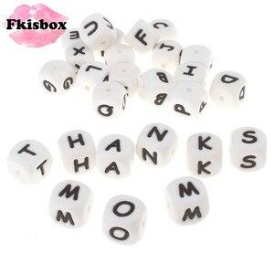 Image 1 - 100 pçs inglês alfabeto letra 12mm silicone cubo mordedor grânulos bpa livre grau alimentício bebê dentição jóias ensino brinquedo de enfermagem
