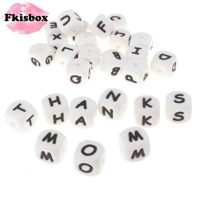 100 pçs inglês alfabeto letra 12mm silicone cubo mordedor grânulos bpa livre grau alimentício bebê dentição jóias ensino brinquedo de enfermagem