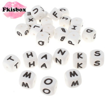 100pcs English Alphabet Letter 12mm Silicone Cube Teether Beads Bpa Free Food Grade Baby Teething Jewelry Teaching Nursing Toy