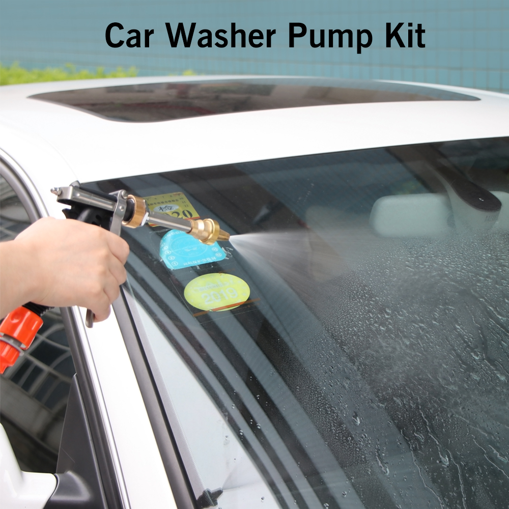 Universal 12V Car Electric Washer Portable High Pressure Washing Machine 80W Cigarette Lighter Water Pump Kit portable water pump cigarette lighter high pressure 12v spray gun car cleaner self suction electric car washer