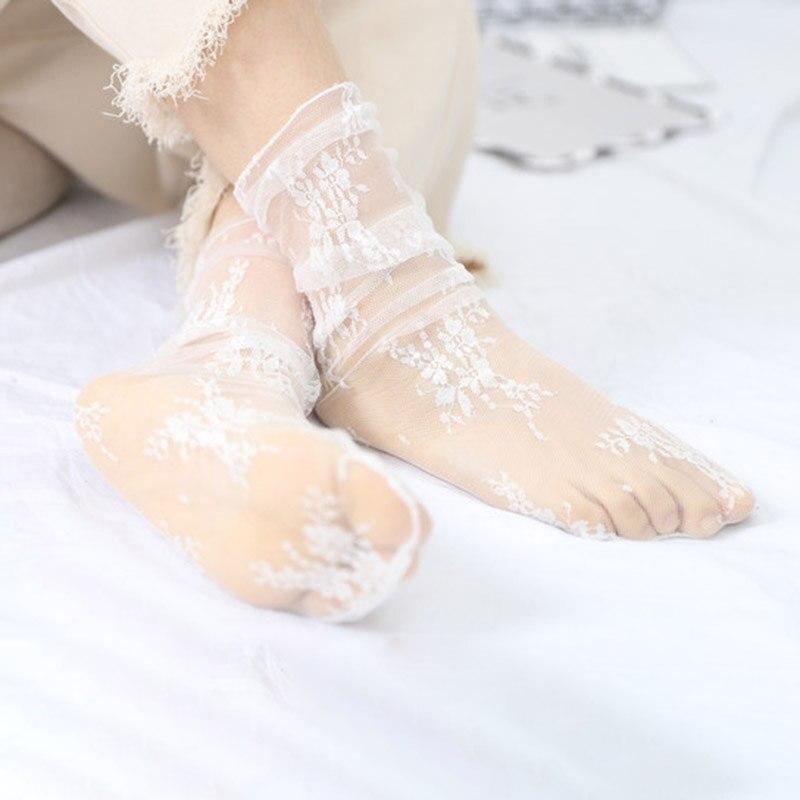 Sexy Tulle Socks Transparent  Thin Long Lace Socks For Women Girl Summer Funny Socks Female Dress Hosiery Loose Sock Street