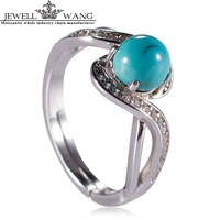 JEWELLWANG Turquoise 925 Sterling Silver Rings For Women Certified Luxury Real Natural Turquoise Fine Gift Twist