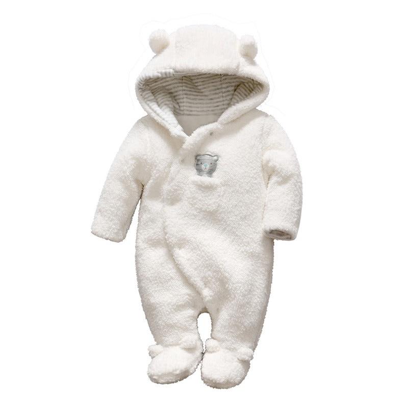Winter Newborn Baby Clothes Bear Onesie Coral Velvet Baby Rompers Hooded Jumpsuit Overalls Baby Warm Boy Girls Fleece Clothing