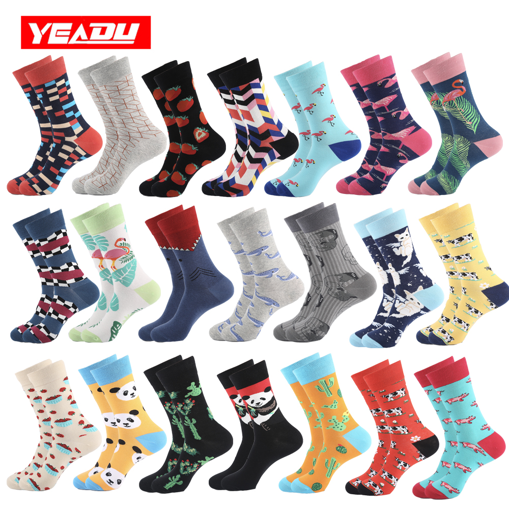 YEADU Men's Socks Harajuku Hip Hop Happy Funny Novelty Cool Panda Strawberry Cat Flamingo Skull Socks For Men Gift 2019