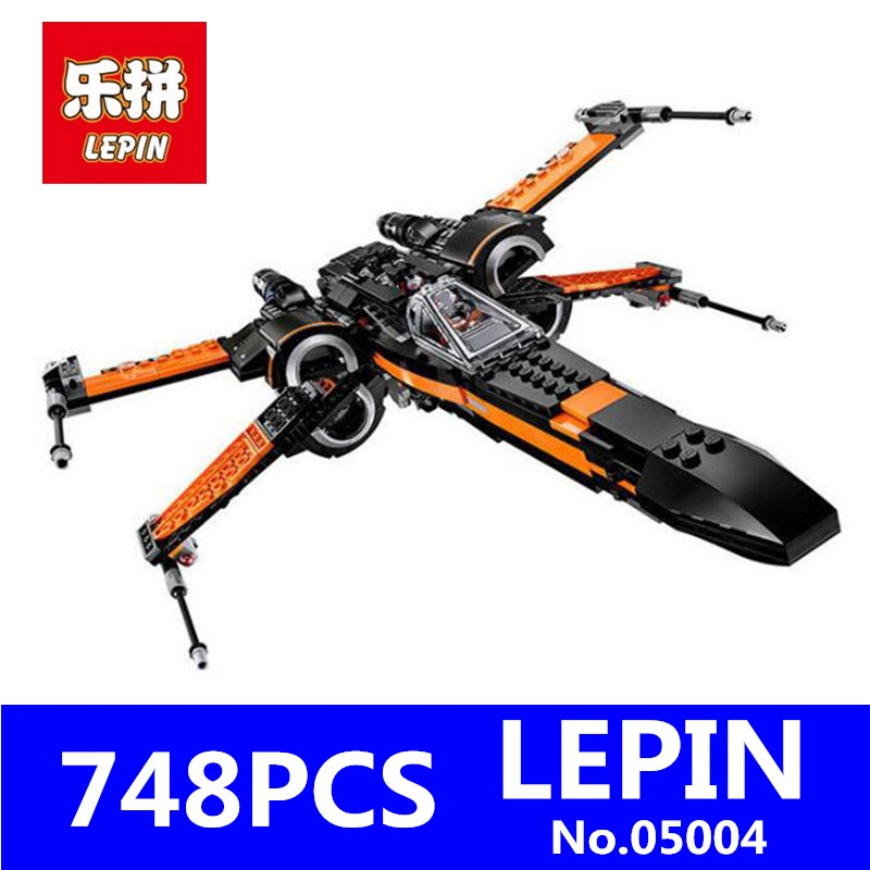 Poe's X-wing Fighter Building Blocks LEPIN 05004 748Pcs Star Set Wars Bricks Model 05007 Compatible Toys for Children Gift lepin 22001 pirate ship imperial warships model building block briks toys gift 1717pcs compatible legoed 10210