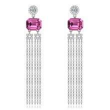 925 Sterling Silver Women Earrings Square Pink Crystal S925 Long Tassel Drop Earrings for Lady Gift Party Fine Jewelry Ear Wears