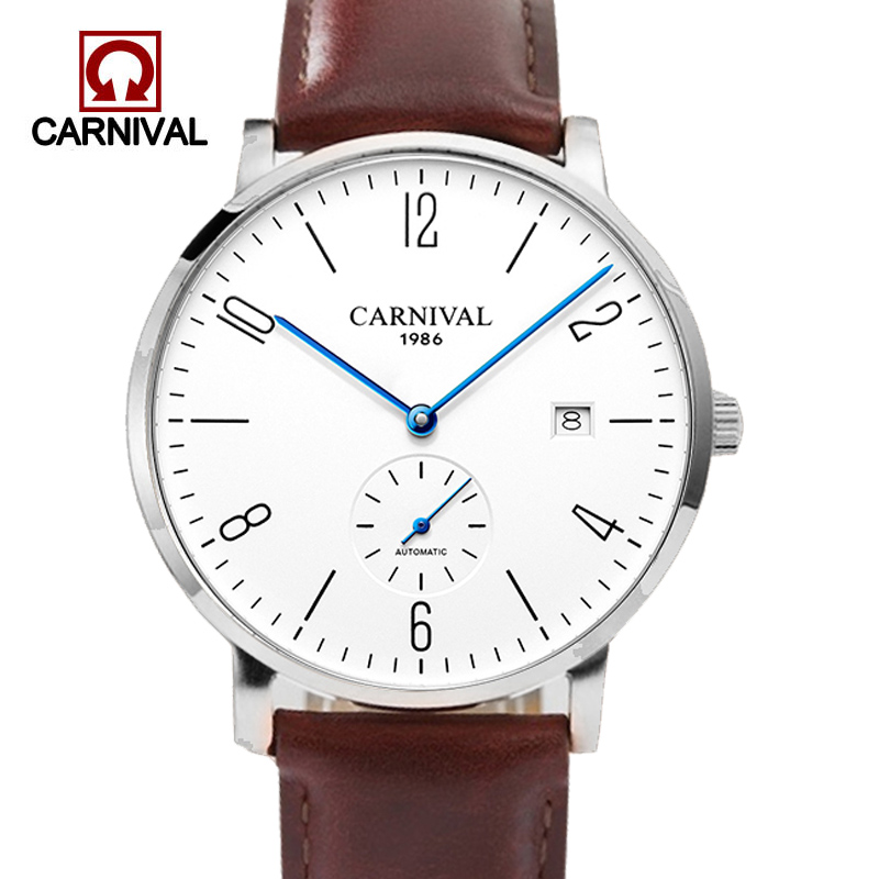 Carnival Automatic Watch Men Stainless Steel Business Wrist Watch Calkskin Leather Fashion Casual Dive 30M Auto Date Clock MaleCarnival Automatic Watch Men Stainless Steel Business Wrist Watch Calkskin Leather Fashion Casual Dive 30M Auto Date Clock Male