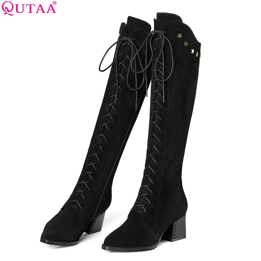 QUTAA 2018 Women Shoes Cow Suede +pu Knee High Boots Platform Lace Up Pointed Toesquare High Heel Women Boots Size 34-42 leopard synthetic suede women pointed toe high stiletto heel boots knee high lace up bootie women platform shoes ladies 2016