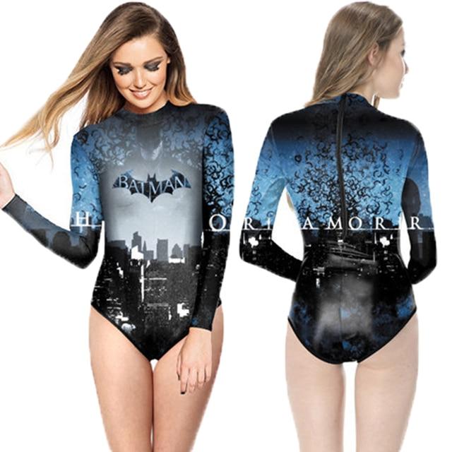 d63f34f0e5443 Cosplay Batman Monokinis Women One Piece Long Sleeve Swimwear Superhero  Dark Knight Beach Rashguard Swimsuit Monokinis Zipper