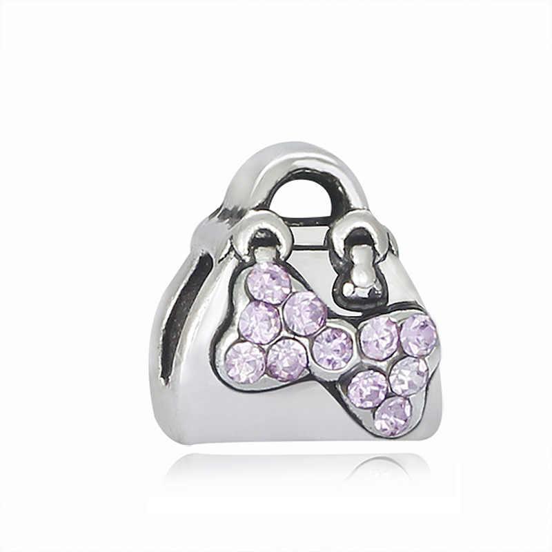 חדש אופנה כסף מצופה קסם בציר גברת תיק גביש נשים DIY חרוז קסמי Fit מקורי פנדורה צמידי תכשיטים