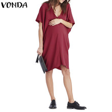 3eb586a530f52 VONDA Maternity Clothes Casual Loose Knee-length Dress 2018 Summer  Pregnancy Sexy V Neck Short Batwing Sleeve Vestidos Plus Size