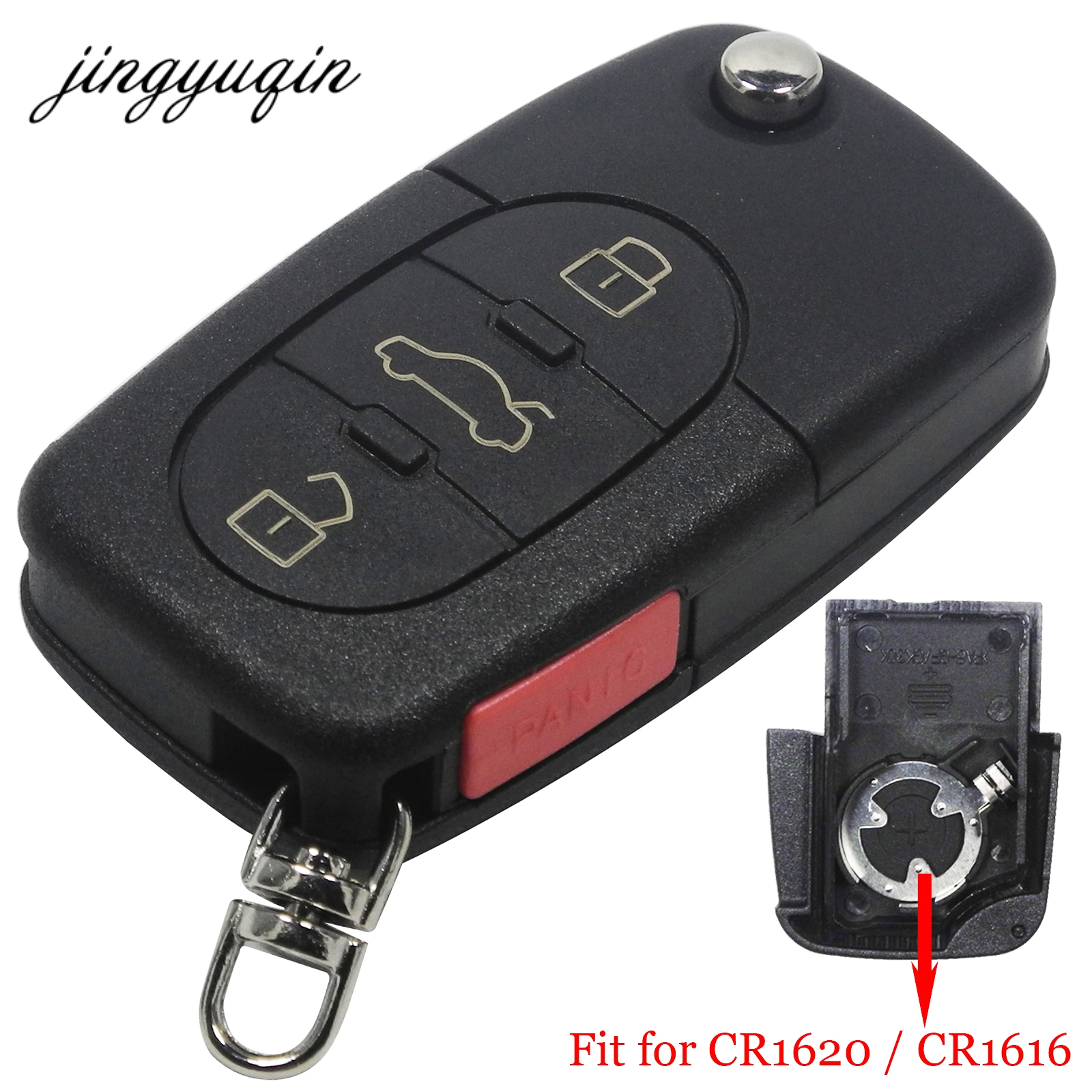 все цены на jingyuqin Flip Fob Remote Key Shell Case for VW Passat Jetta Golf Beetle 4/3+Panic Buttons Fit CR1616/CR1620