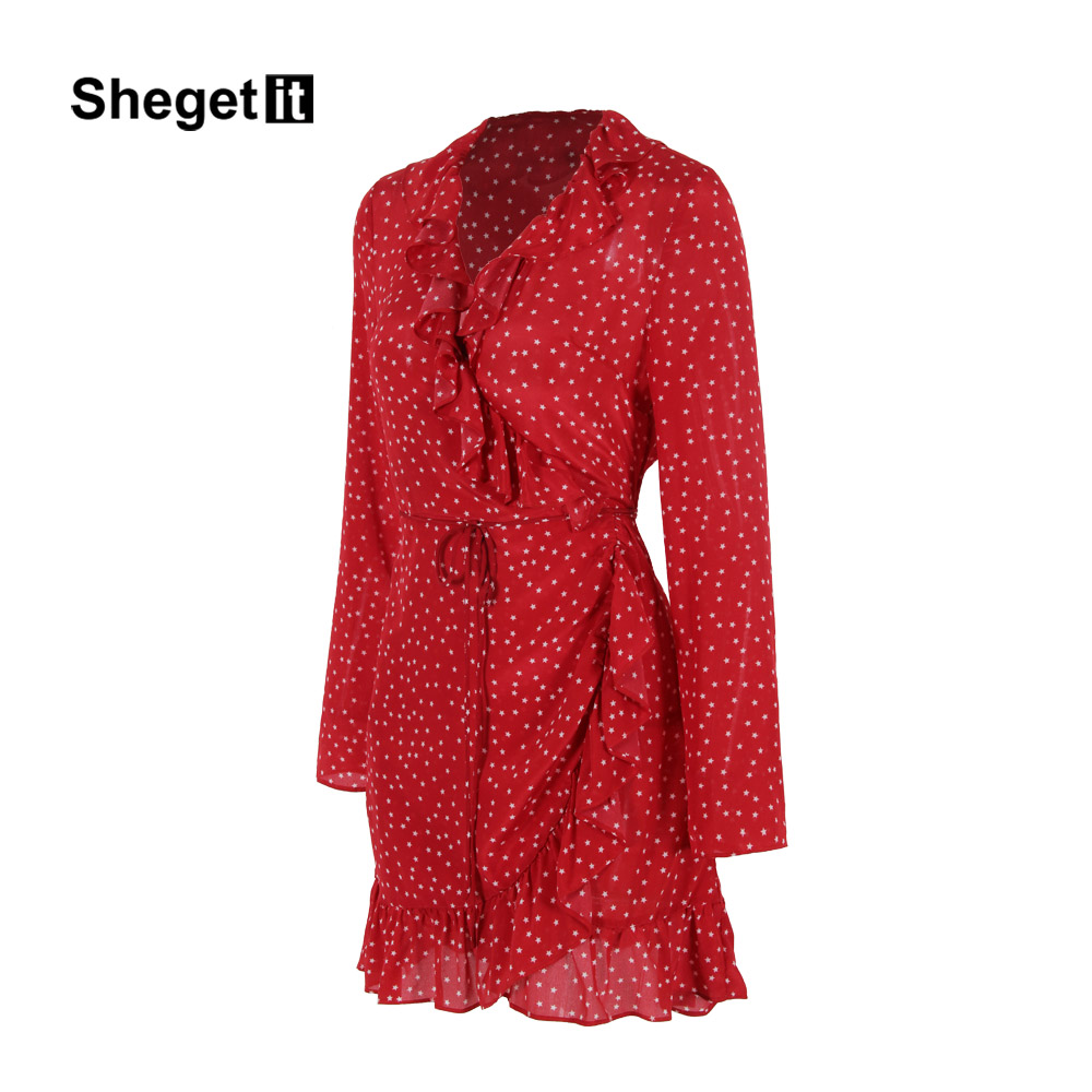 54fb45d3c41 Shegetit 2017 Summer New Arrived Star Print Mini Dress Women Ruffles  Wraparound Dress Long Sleeve Red Women Dresses Vestidos-in Dresses from  Women s ...