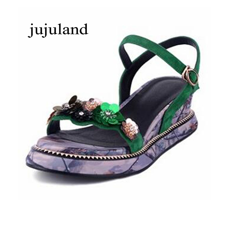 Summer Women Sandals Shoes Genuine Leather Nubuck Fashion Casual Wedges Heels Big Size Back Strap Buckle Strap Flower Bling xiaying smile summer woman sandals platform wedges women pumps buckle strap fashion casual flock lady bling crystal women shoes