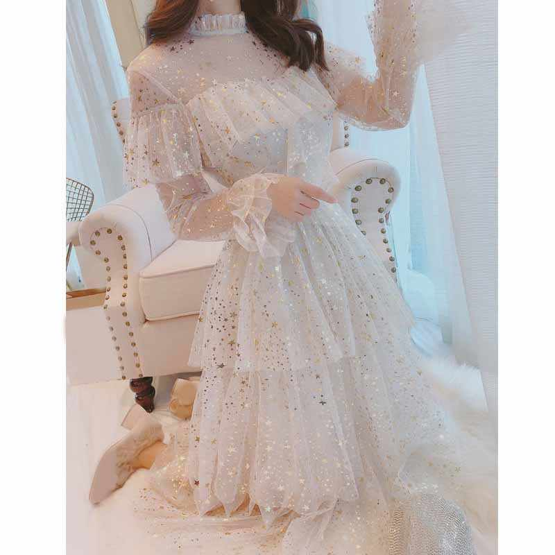 Sweet Women Mesh Organza Party Midi Dress Elegant Flare Sleeve Gauze Fairy Cake Dress Spring Solid Ruffles Star Sequins Dress