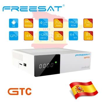 FREESAT GTC Android 6.0 TV BOX dvb-S2 dvb-t2/Cable/ISDBT S905D 2GB RAM 16GB ROM gtmedia + 1 year spain germany europe iptv m3u