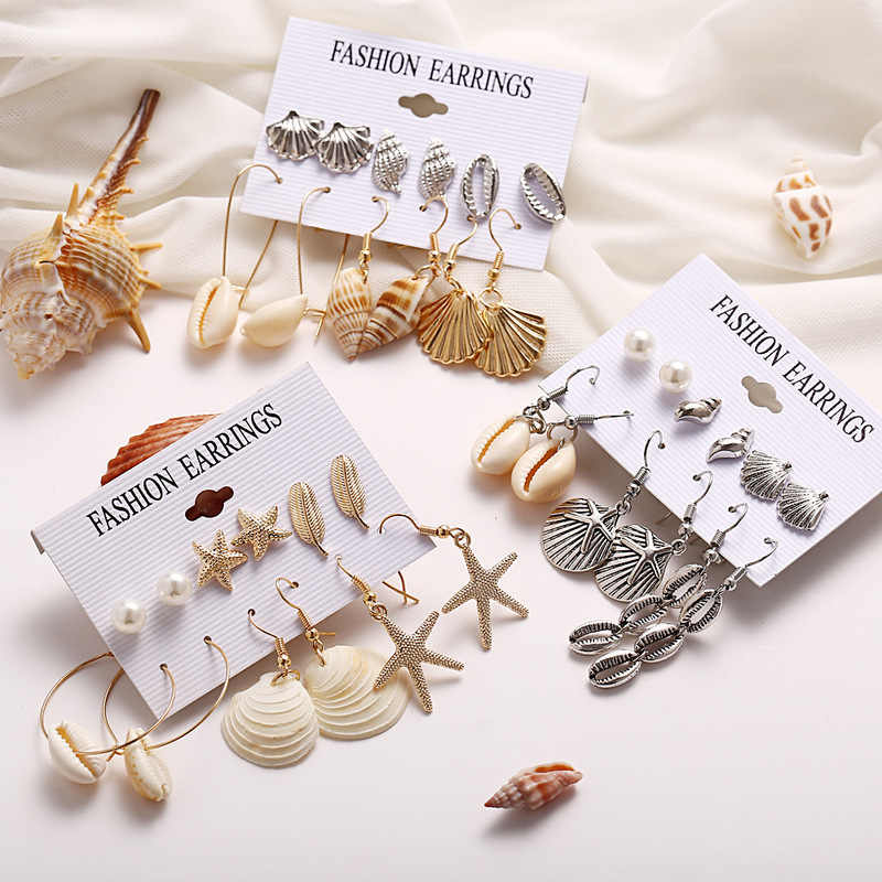 2019 New Fashion Beach Jewelry Shell Earrings Set for Women 6 Pair/set Bohemian Flower Tassel Long Earring Stud Female Brincos