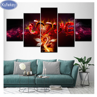 Multi pictures Love Abstract Fire Diamond Painting Cross Stitch Diamond Embroidery full square Rhinestone Mosaic Home Decoration