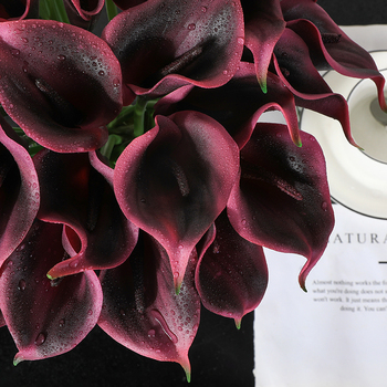 31 Pieces Calla Lily PU Real Touch Decorative Vase Artificial Flower Fake flower lifelike flowers bud Decorating hotel