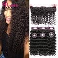 13x4 Brazilian Lace Frontal Closure With Bundles Deep Curly Mink 7A Virgin Brazilian Deep Wave Hair With Lace Frontal Closure