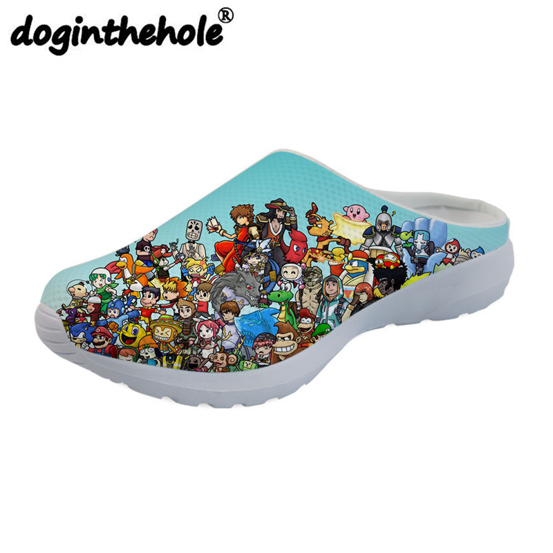 doginthehole Mens Sport Sandals Cartoon Game Characters Printing Beach Shoes for Boys Teenager Outdoor Sport Slippers Flat New