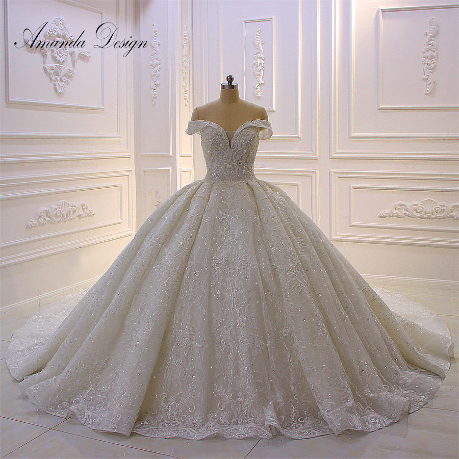 Amanda Design abiti sposa Off The Shoulder Empire Shiny Luxury Wedding Dress
