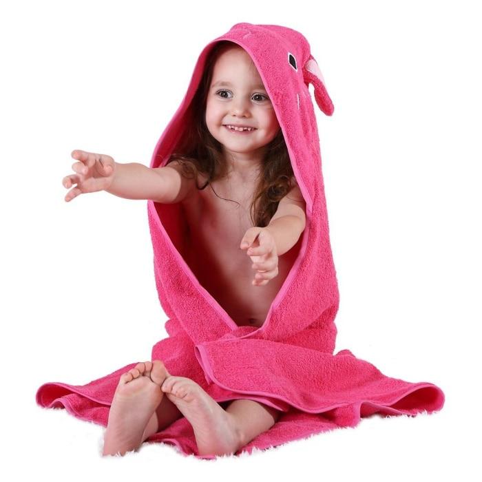 Детское махровое полотенце с капюшоном и изображением животных, халат с изображением животных для малышей, синий От 0 до 6 лет - Цвет: bunny