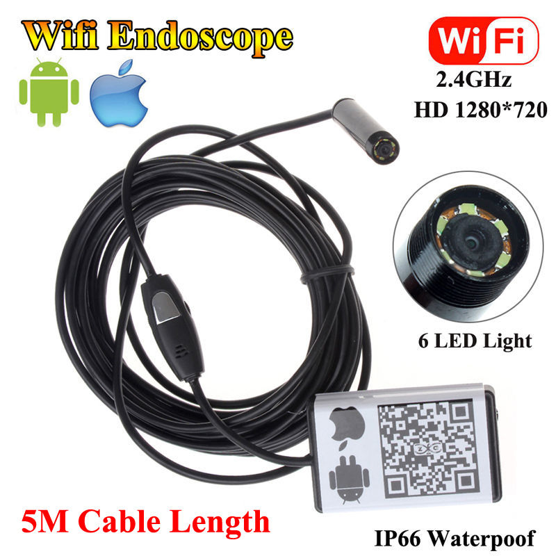 Free shipping!WIFI ios and  Android Endoscope Borescope HD 720P Inspection 5M Snake Camera 9MM free shipping hd 720p 9mm 3 5m android endoscope 6 led waterproof professional microscope camera se u9