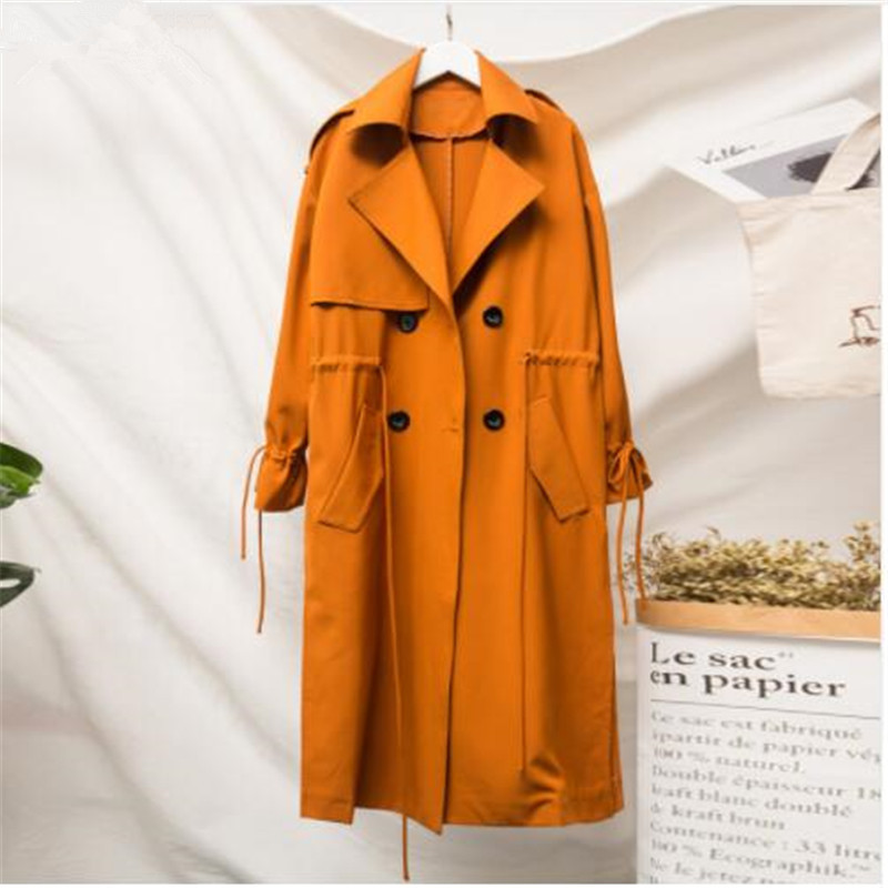 2018 Autumn New   Trench   Coat for Women Pluz Size Cotton Wild Casual Ladies Windbreaker Double-breasted Women Clothing