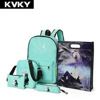 KVKY Brand 5 Pcs/set Women Backpacks Cute Cat School Bags For Teenage Girls Printing Canvas Backpacks Ladies Shoulder Bags