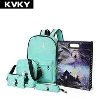 5 Pcs Set Women Backpack New Cute Cat School Bags For Teenage Girls Printing Canvas Backpack