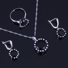 Fantastic Round Black Cubic Zirconia White CZ 925 Sterling Silver Jewelry Sets For Women Earrings Pendant Chain Ring V0280 trendy water drop blue cubic zirconia white cz 925 sterling silver jewelry sets for women earrings pendant necklace bracelet