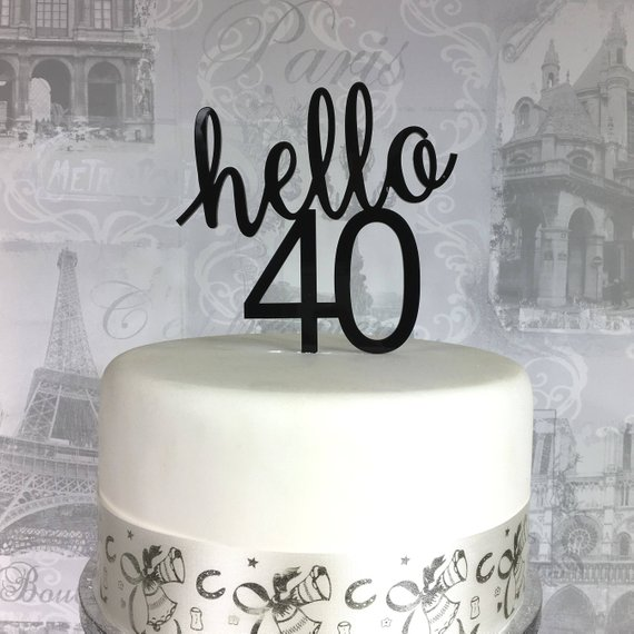 Personalized Age Birthday Party Cake Topper Hello 40